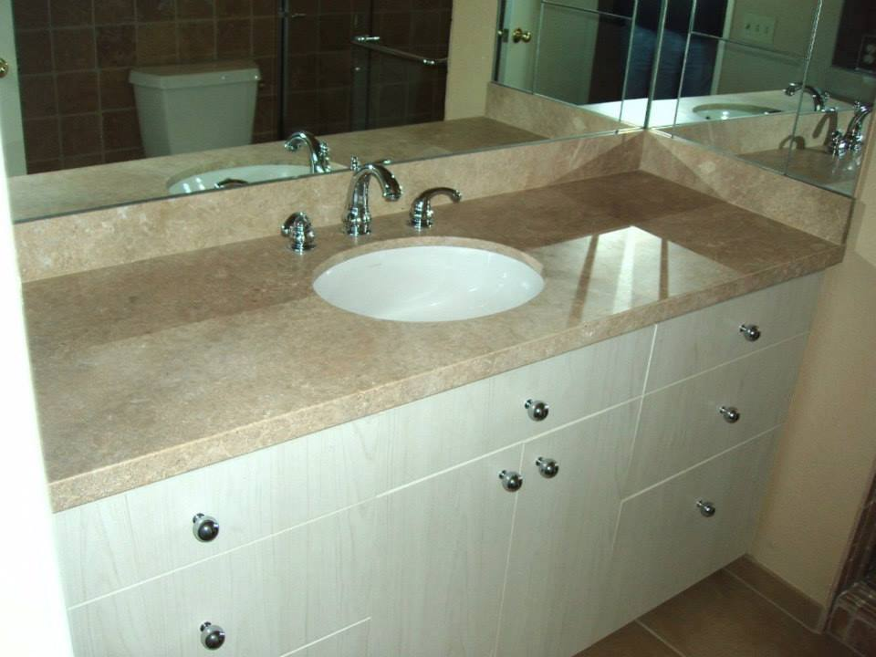 Travertine Slab Top Bathroom Counter
